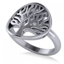 Family Tree of Life Fashion Ring 14k White Gold