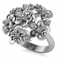 Diamond Accented Flower Bouquet Fashion Ring 14k White Gold (0.22ct)
