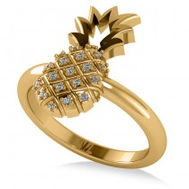 Diamond Accented Pineapple Fashion Ring 14k Yellow Gold (0.10ct)