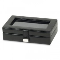 Men's Black Faux Leather Jewelry Box with Glass Top for Home or Travel