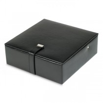 Men's Black Faux Leather Jewelry Box with Removable Travel Watch Case