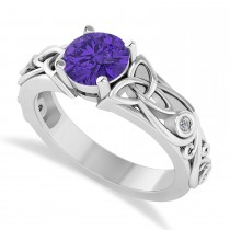 Diamond Accented Bezel Tanzanite Celtic Engagement Ring 14k White Gold (1.06ct)