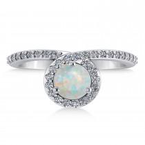 Round Opal & Diamond Nouveau Ring 14k White Gold (2.02 ctw)