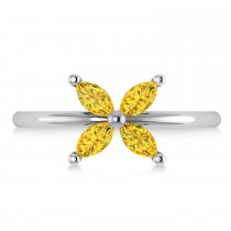 Yellow Sapphire Flower Marquise Ring 14k White Gold (0.72 ctw)