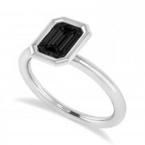 Emerald-Cut Bezel-Set Black Diamond Solitaire Ring 14k White Gold (1.00 ctw)