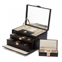 Wolf Designs Chloe Medium Jewelry Box in Black Pattern Leather