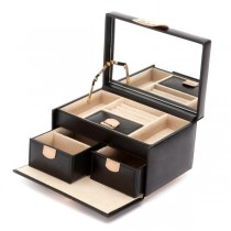 Wolf Designs Chloe Small Jewelry Box in Black Pattern Leather
