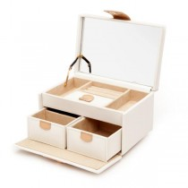 Wolf Designs Chloe Small Jewelry Box in Cream Pattern Leather