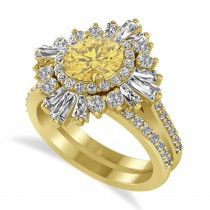 Yellow Diamond and Diamond Ballerina Engagement Ring 14k Yellow Gold (2.74 ctw)