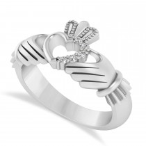 Diamond Claddagh Ladies Ring with Hollow Heart 14k White Gold (0.05ct)