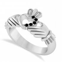 Black Diamond Claddagh Ladies Ring with Hollow Heart 14k White Gold (0.05ct)