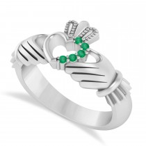 Emerald Claddagh Ladies Ring with Hollow Heart 14k White Gold (0.05ct)