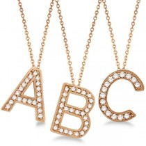 Custom Tilted Diamond Block Letter Initial Necklace in 14k Rose Gold