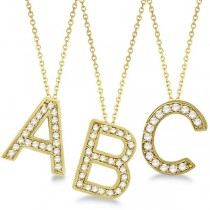 Custom Tilted Diamond Block Letter Initial Necklace in 14k Yellow Gold