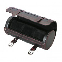 Travel Watch Case Roll Black Leather w/ Red Stitching