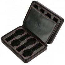 Eight Watch Travel Case Pouch in Black Leather w/ Red Stitching