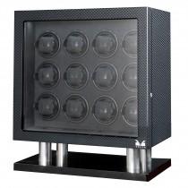 High Gloss Carbon Fiber Twelve Watch Winder w/ Black Leather Interior