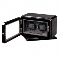 High Gloss Black Oak Rotating Base Double Watch Winder Suede Interior