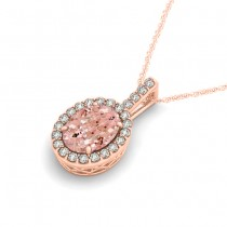Pink Morganite & Diamond Halo Oval Pendant Necklace 14k Rose Gold (1.27ct)