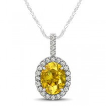 Yellow Sapphire & Diamond Halo Oval Pendant Necklace 14k White Gold (1.17ct)