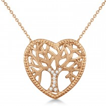 Diamond Heart Family Tree of Life Pendant Necklace 14k Rose Gold (0.05ct)