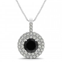Black Diamond & Diamond Drop Double Halo Pendant 14k White Gold (1.75ct)