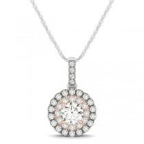 Double Halo Round Diamond Pendant Necklace 14k Two Tone Gold (1.08ct)