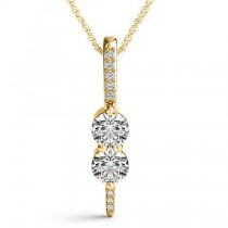 Two Stone Diamond Drop Pendant Necklace 14k Yellow Gold (0.34ct)