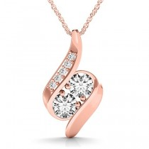Two Stone Swirl Diamond Pendant Necklace 14k Rose Gold (0.25ct)