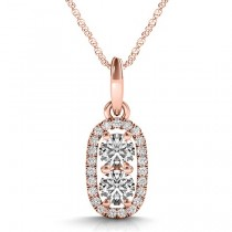 Halo Two Stone Diamond Pendant Necklace 14k Rose Gold (0.64ct)