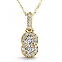 Double Halo Two Stone Diamond Pendant Necklace 14k Yellow Gold (0.55ct)