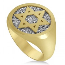 Raised Jewish Star of David Signet Ring for Men 14k Yellow Gold