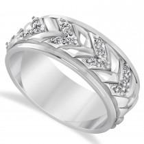 Men's Diamond Braided Band Eternity Ring 14k White Gold (0.20ct)