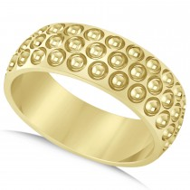 Men's Golf Ball Design Eternity Sports Band Ring 14k Yellow Gold