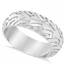 Men's Road Racing Eternity Sports Band Ring 14k White Gold