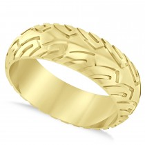 Men's Road Racing Eternity Sports Band Ring 14k Yellow Gold
