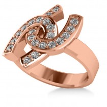 Diamond Double Horseshoe Men's Ring 14k Rose Gold (0.66ct)
