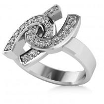 Diamond Double Horseshoe Men's Ring 14k White Gold (0.66ct)