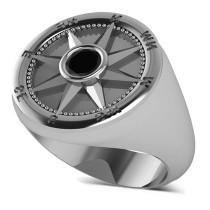 Men's Black Diamond Nautical Compass Ring 18k White Gold (0.25ct)