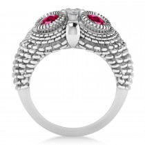Men's Owl Diamond & Ruby Accented Fashion Ring 14k White Gold (0.74ct)