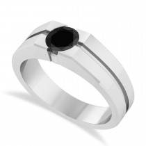 Men's Black Diamond Solitaire Fashion Ring in 14k White Gold (1.00 ctw)