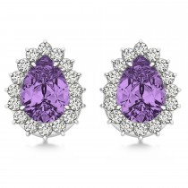 Pear Cut Diamond & Amethyst Halo Earrings 14k White Gold (0.95ct)