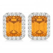 Emerald Cut Citrine & Diamond Halo Earrings 14k White Gold (2.30ct)
