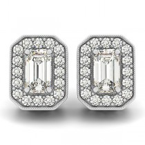 Diamond Emerald-cut Halo Stud Earrings 14k White Gold (0.90ct)