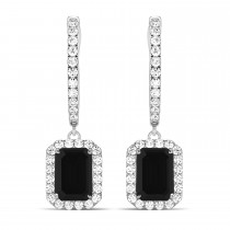 Emerald Shape Black Diamond and Diamond Halo Dangling Earrings 14k White Gold (1.50ct)
