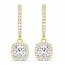 Cushion Shape Diamond Halo Dangling Earrings 14k Yellow Gold (2.18ct)