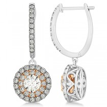 Diamond Double Halo Round Drop Earrings in 14k Two Tone Gold (1.67ct)