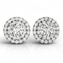 Round Cut Double Cushion Halo Stud Earrings 14k White Gold (1.50ct)