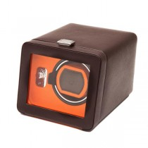 WOLF Windsor Single Watch Winder w/ Cover in Brown/Orange Faux Leather