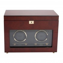 WOLF Savoy Men's Double Watch Winder & Storage Box Glass Cover Key Lock 2 Colors